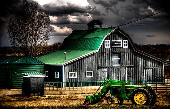 Green barn roof ~ John Deere tractor