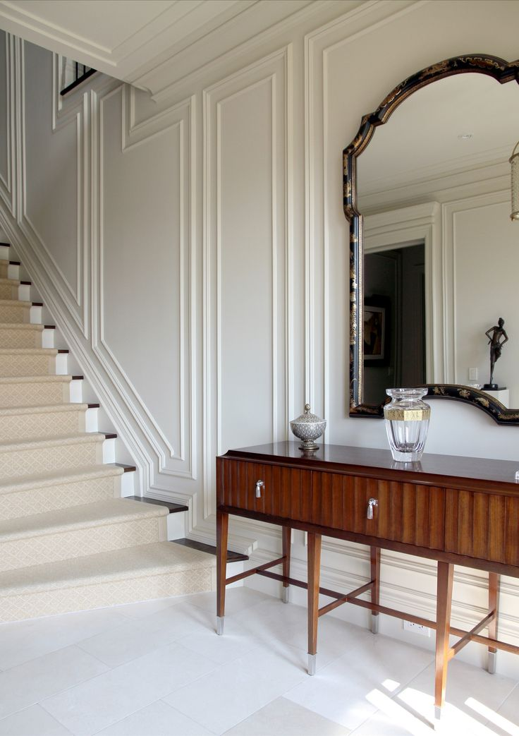 Grand Foyer Mirror : Beautiful white panelled and trimmed walls trim