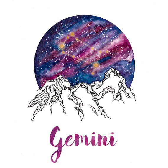 Gemini Zodiac Watercolour Painting by PickledCherryblossom on Etsy