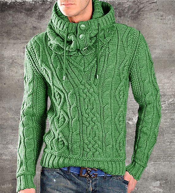 Tejido a mano de cuello alto de hecho a orden V suéter cuello