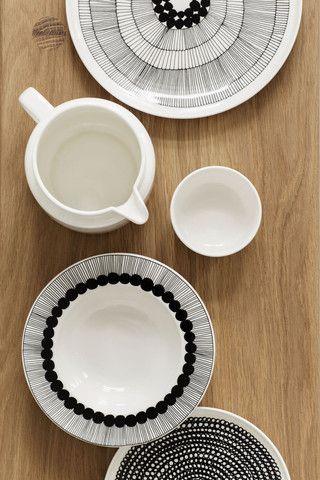 Siirtolapuutarha Dinner Plate Black/White