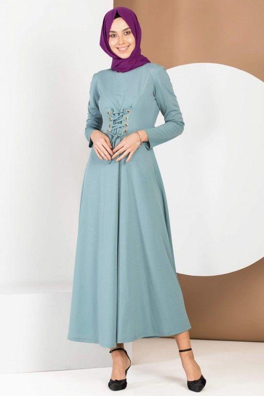 6c46c423673b5 Elbise Mint Yeşili Bağcıklı | tesettür giyim | Giyim, Elbiseler, Yeşil