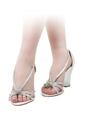 White Satin Rhinestone Wedding Wedge Sandals $58.99 http://www.topb2c.info/white-satin-rhinestone-wedding-wedge-sandals