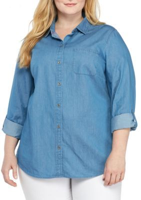 Kim Rogers Women's Plus Size Chambray Roll Sleeve Shirt - Med Wash - 1X