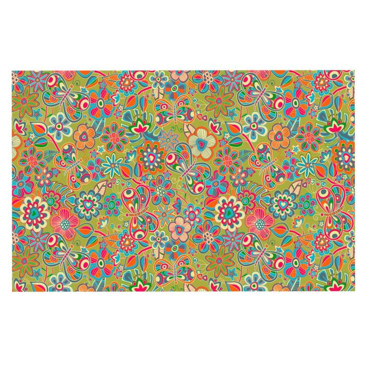 "Julia Grifol ""My Butterflies & Flowers in Green"" Rainbow Floral Decorative Door Mat"