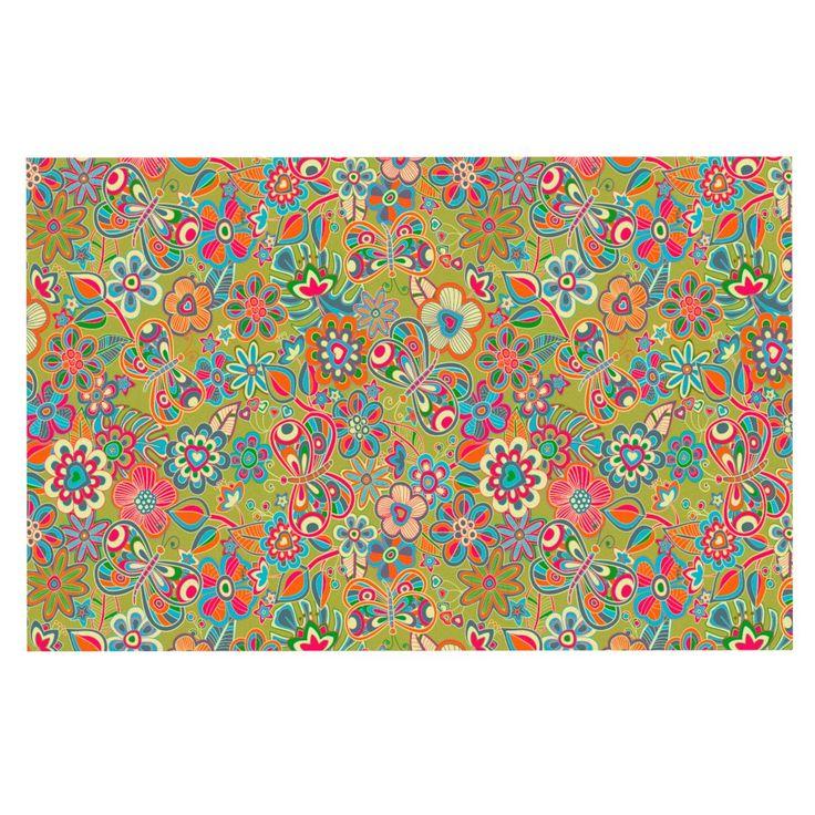 "Julia Grifol ""My Butterflies & Flowers in Green"" Rainbow Floral Decorative Door Mat"