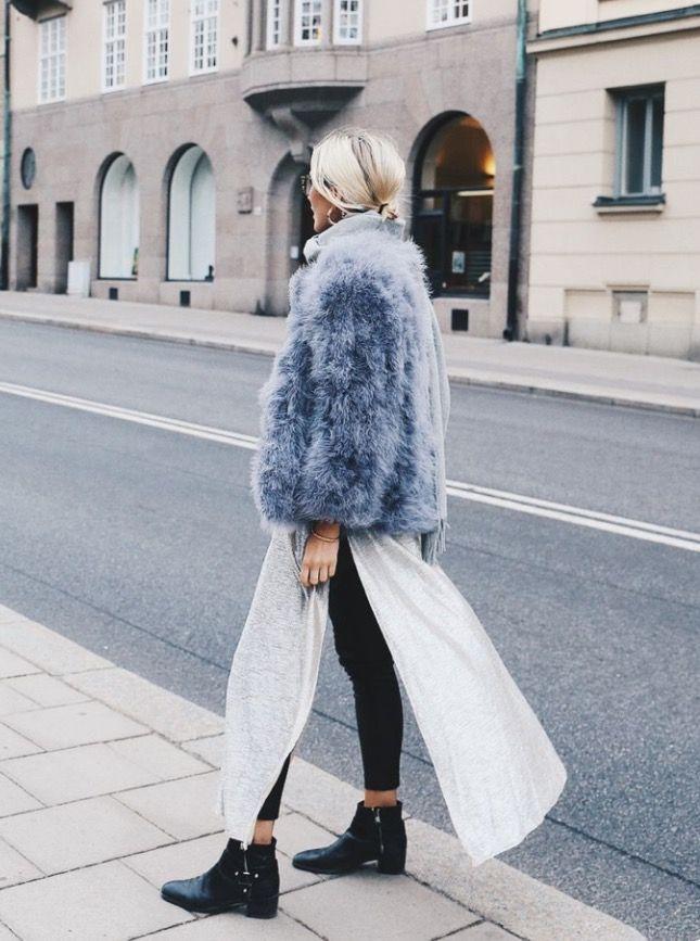 ❥❥❥❥❥ fluffy jacket, white skirt, black boots