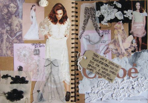 fabric scraps, layer images, inspiration, text