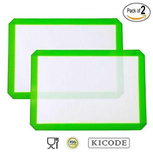 Kicode  2x Silicone Baking Mat  Healthy Cooking  FoodSafe Certified  Oven Tray Liners and Cookie Sheets  Reusable Green *** See this great product by click affiliate link Amazon.com