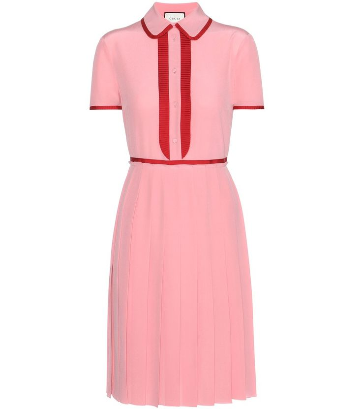 Gucci - Pleated silk dress - Gucci charms us with this silk dress in its retro-inspired colour palette of bubblegum-pink and bold red. The fitted bodice is finished on a feminine note with a pleated skirt for soft movement. Pleated grosgrain trims define the silhouette for a figure-flattering effect. Wear yours with a pair of the label's loafers for a covetable look. seen @ www.mytheresa.com
