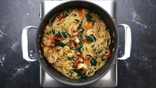 You can't go wrong with garlic, shrimp, spinach, and pasta.