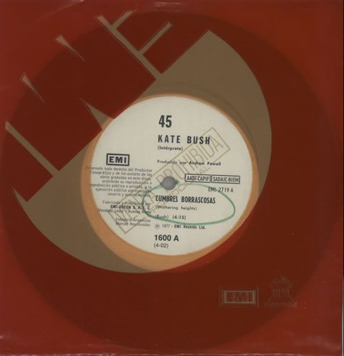 """For Sale - Kate Bush Cumbres Borrascosas Argentina Promo  7"""" vinyl single (7 inch record) - See this and 250,000 other rare & vintage vinyl records, singles, LPs & CDs at http://eil.com"""