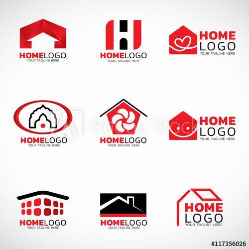 Red and black Home logo vector set design