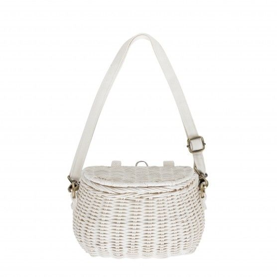 Mini Chari #White Bag - a #woven #wicker #bag perfect for the #child on the go! Sling it over your shoulder or strap it on a #bike!
