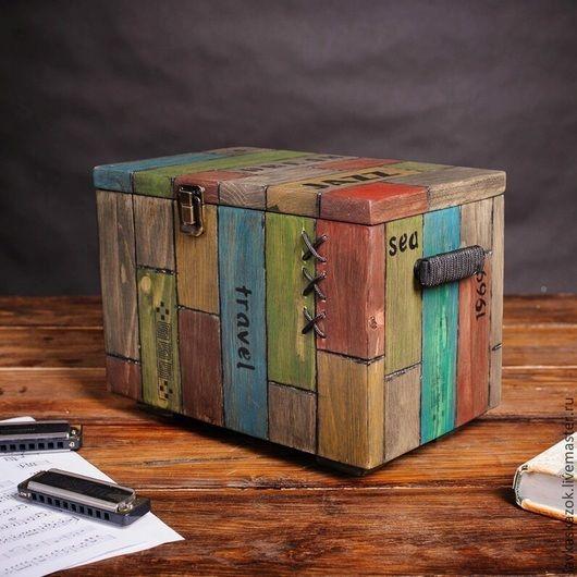 """Шкатулки ручной работы. Ярмарка Мастеров - ручная работа. Купить Сундук """"Джаз"""" ( сундук деревянный, сундучок для хранения). Handmade."""
