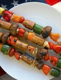 spiedini di seitan e verdure alla griglia