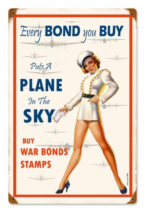 Vintage War Bonds 12 x 18 inches Tin Sign
