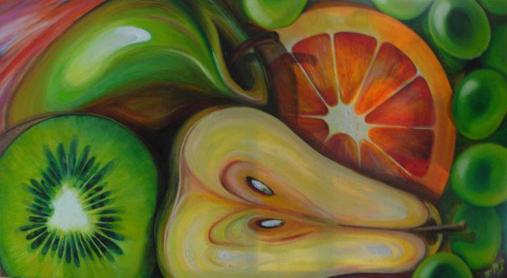 Bodegón con temática de frutos verdes.