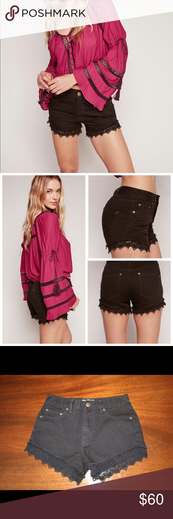 Free People Black Denim, Lace Trim Shorts Barely worn black jean shorts with lace trim along the cuff. Perfect spring/summer shorts. Free People Shorts Jean Shorts