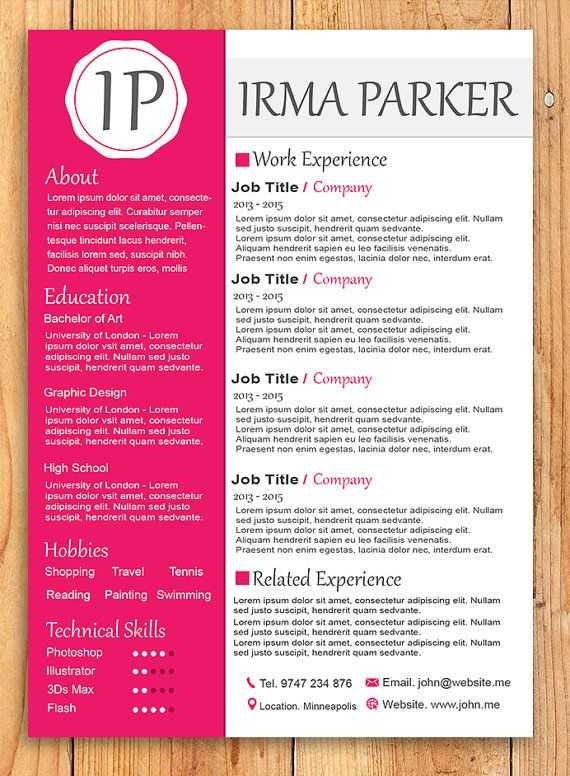 Custom Resume Template  Word Resume Template Photoshop by 41Bus