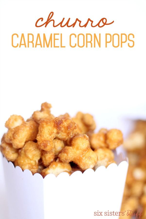 Churro Caramel Corn Pops from SixSistersStuff.com | Crunchy corn pops, coated in delicious caramel and cinnamon and sugar.  The perfect snack for movie night or your next party!