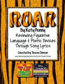"""Use Katy Perry's """"Roar"""" and other popular songs to review figurative language & poetry devices - from www.traceeorman.com"""