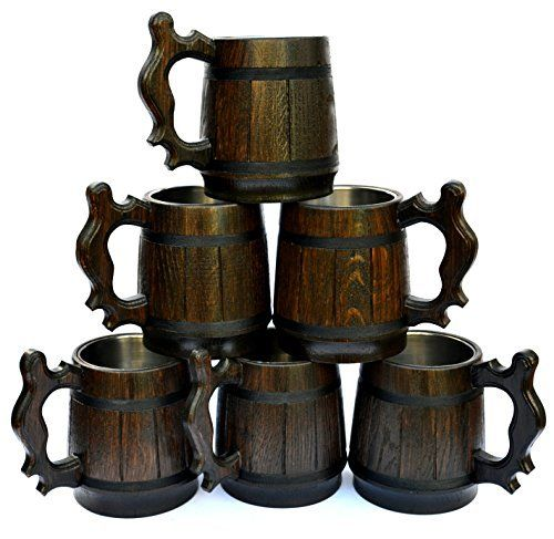 Improved set of mugs with boxes for all true beer lovers !!! There is no better gift, than a wooden mug with stainless steel cup, for a man or women who loves beer, coffee, tea or other cold and hot drinks. Handmade of natural oak wood and accomplished in a dark brown color, this solid mug gives... see more details at https://bestselleroutlets.com/home-kitchen/kitchen-dining/dining-entertaining/bar-tools-glasses/product-review-for-handmade-beer-mug-set-of-6-oak-wood-stainless