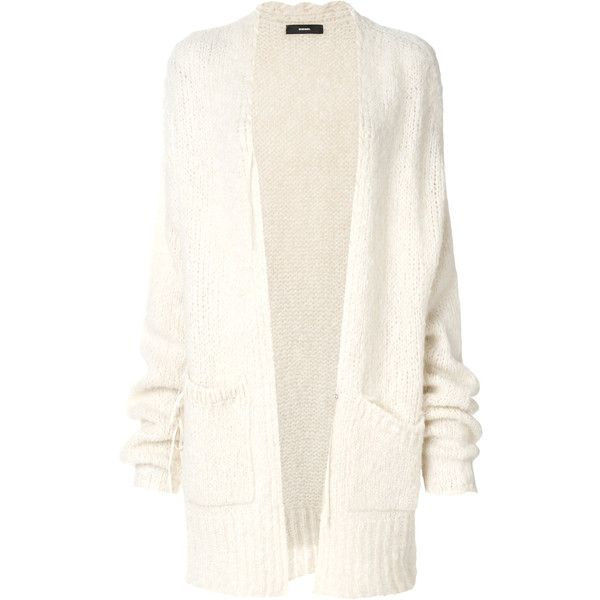 Diesel oversized cardigan ($310) ❤ liked on Polyvore featuring tops, cardigans, diesel cardigan, oversized tops, cream top, cream long sleeve top and white long sleeve top