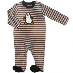 Penguin striped footed onesie. Sizes 0000, 000, 00 & 0.