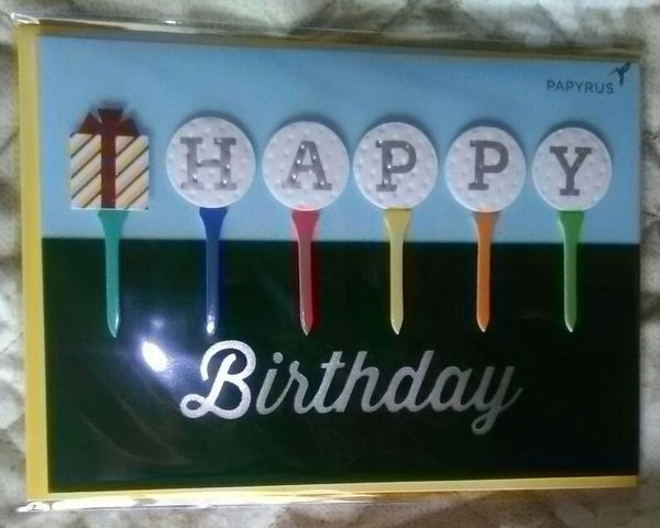 Happy + Birthday + Golf + Tees + Cards + w/ + yellow + (Papyrus) + A + Round + of + Birthday + Cheer + to + you!