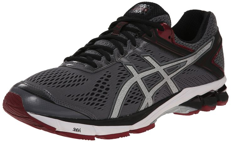 ASICS Men's GT 1000 4 Running Shoe, Carbon/Silver/Maroon, 14 M US. Stability running shoe engineered to support overpronation featuring breathable mesh overlay and glossy side logos. Rearfoot and forefoot GEL cushioning. DuoMax support. SpEVA foam midsole. Guidance Line flex grooves in outsole.