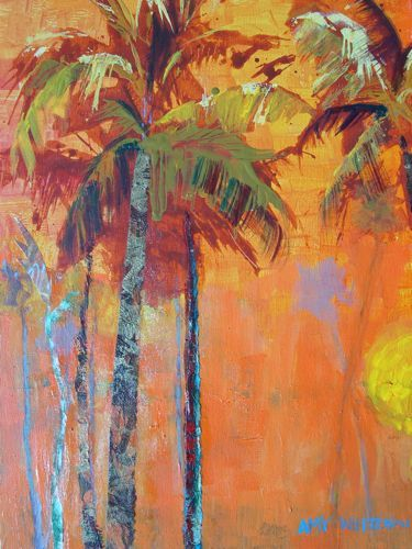 """""""Favorite Palms, 16x20 Acrylic Painting of Palm Trees"""" - Original Fine Art for Sale - © Amy Whitehouse"""