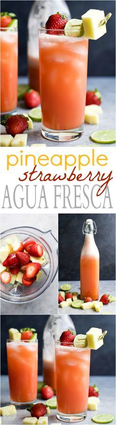 PINEAPPLE STRAWBERRY AGUA FRESCA - a light refreshing drink to keep you cool all summer long! This Agua Fresca takes less than 10 minutes to make and is sweetened with agave nectar.   joyfulhealthyeats.com