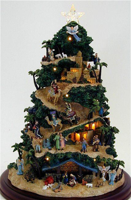 Nativity set and christmas tree decoration | Nativity Tree I absolutely love it! Is's a really great idea!