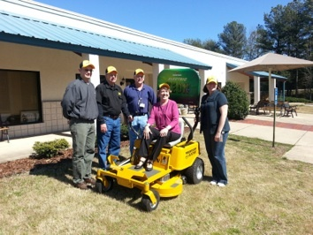 Thanks to a donation from Terry Nixon (owner of Terry's Tool Rental) in partnership with Hustler Turf Equipment, The Place is now the proud owner of a new Zeon electric riding lawn mower.