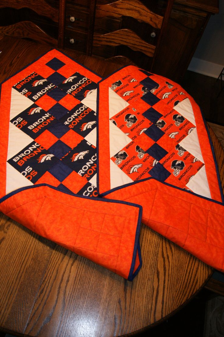 Quilted Pieced Table or Chest Runner Blue Orange NFL Denver Broncos Horses Head Football Helmet 4 Patch  REVERSIBLE by Joyofquilting on Etsy