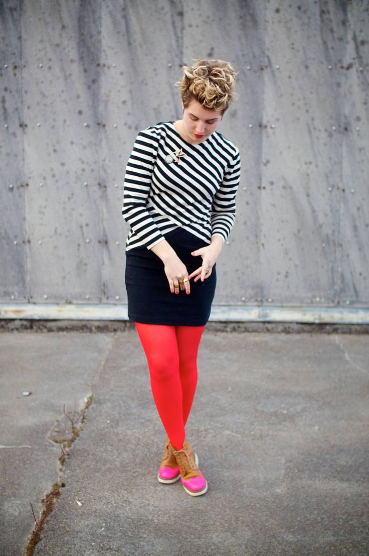 Red and white striped pantyhose are the