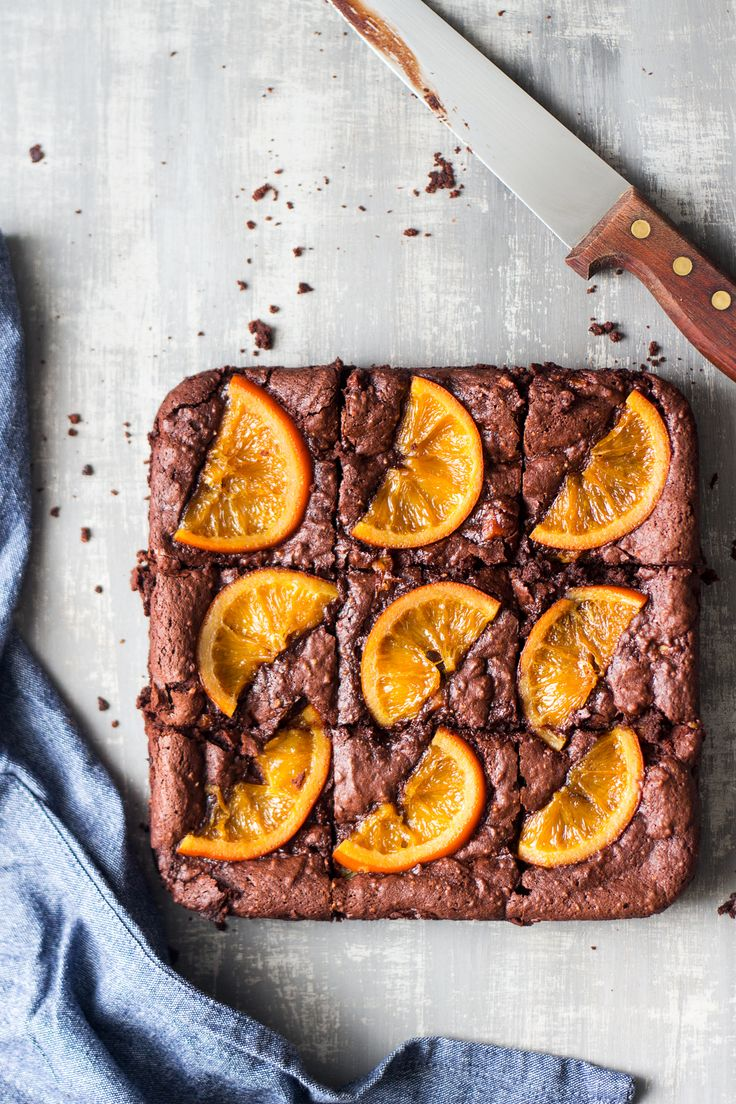 gooey chocolate brownies orange cut
