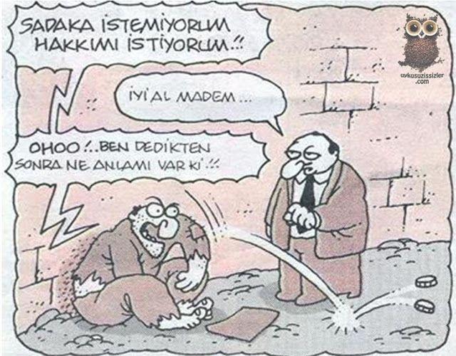 Karikatür: Sadaka istemiyorum...