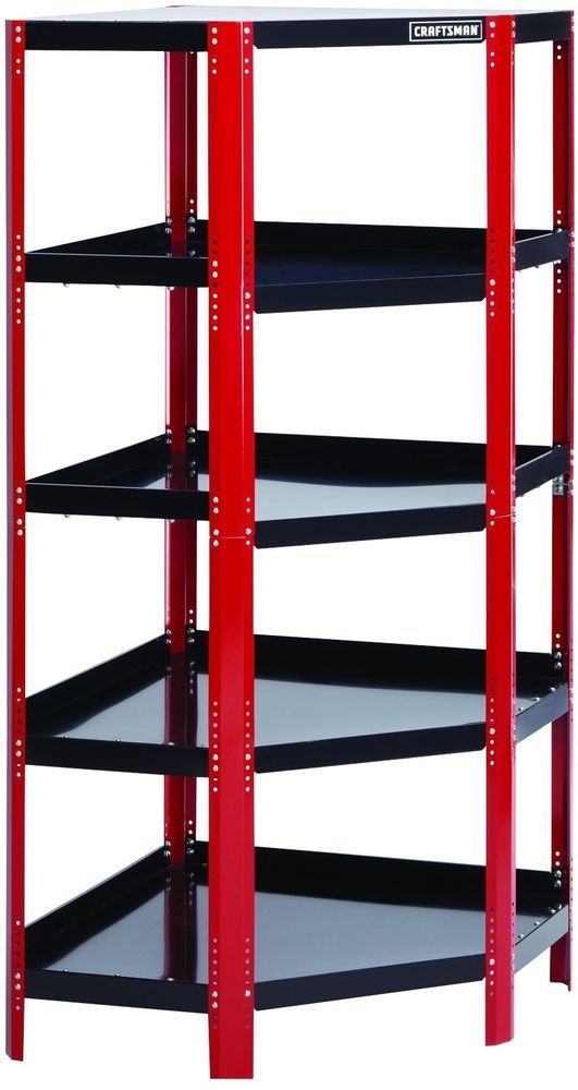 Garage Corner Steel Floor Shelving Unit  #garage #shelves #storage #mechanics #tools  #Craftsman
