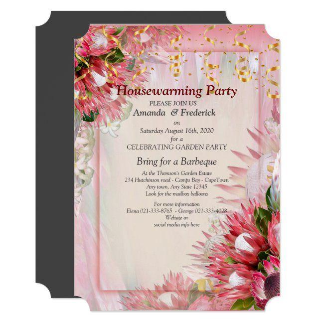King Protea Flower Houswarming Party Invitation Zazzle Com Ribbon Invitation Pink Wedding Invitations Blush And Gold