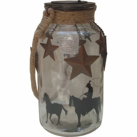 Red Shed Glass Jar Solar Lantern With Star Charms
