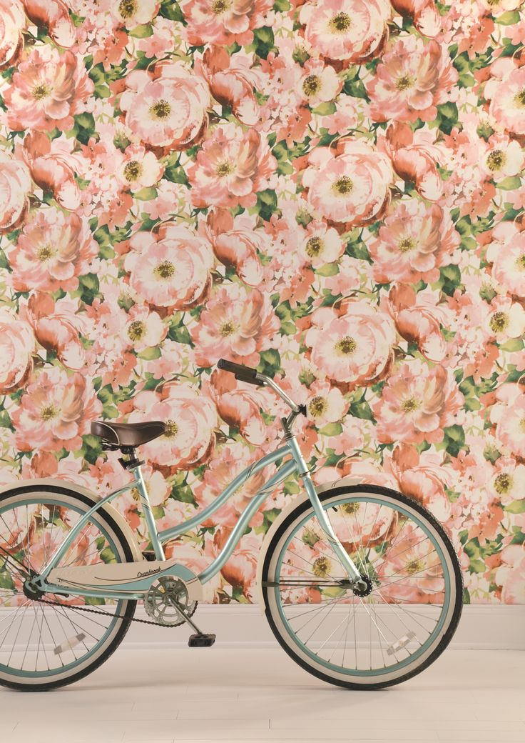 A bold oversized floral watercolour inspired wallpaper in peach and green, from the Watercolours collection by Carey Lind Designs, WT4504 by York Wallcoverings. Available through Guthrie Bowron stores in New Zealand.
