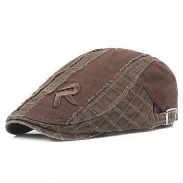 4a8085f2258 Mens Women Vintage Grid Embroidery Letter Beret Cap Casual Visor Newsboy Forward  Beret Hat  HuntingApparelandClothesforMen