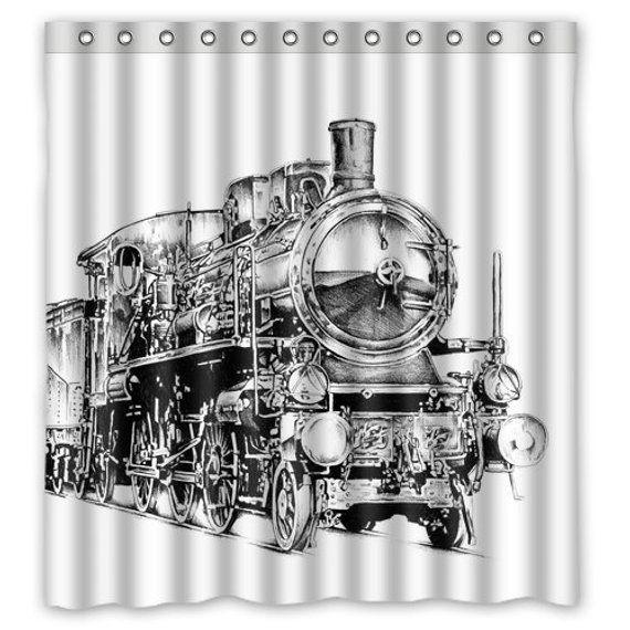 Steam Train Shower Curtain Vintage Steam Train Shower Curtain