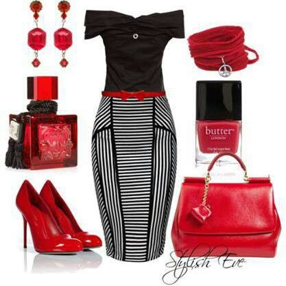 ✯ Black, Red and White ✯ Pin up chic via Polyvore