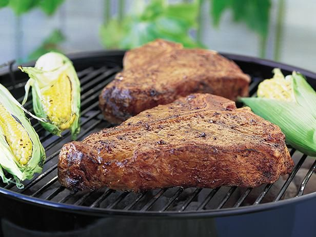 Get Grilled T-Bone Steaks with BBQ Rub Recipe from Food Network