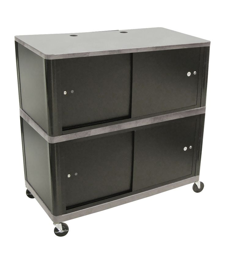 """Luxor Mobile Universal Plasma LCD LED TV Mount Stand Cart Station 2 Lockable Cabinet Gray 42"""""""" x 24"""""""""""