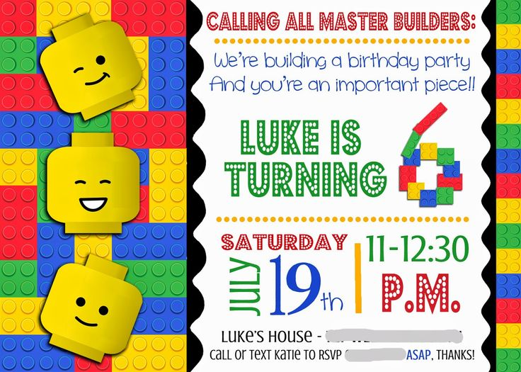 114 best images about lego Party – Lego Birthday Invite