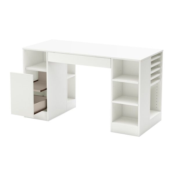 South Shore Crea Collection Pure White Craft Hobby and Sewing Machine Table
